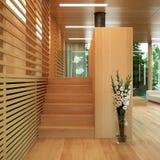 Modern hout met panelen bekleed huis Stock Foto's