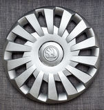 Modern hubcap hub covers for the winter tyres made by Skoda Auto. PARIS, FRANCE - DEC 18, 2016: Modern hubcap hub covers for the winter tyres made by Skoda Auto Stock Images