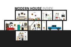 Modern huis in besnoeiing stock illustratie
