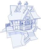 Modern huis - blauwdruk Royalty-vrije Stock Afbeelding