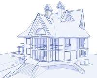 Modern huis - blauwdruk Stock Afbeelding
