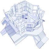 Modern huis - blauwdruk Royalty-vrije Stock Afbeeldingen