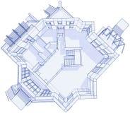 Modern huis - blauwdruk Stock Foto's