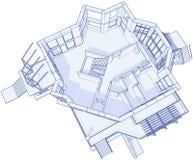 Modern huis - blauwdruk Stock Fotografie