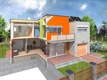 Modern huis in sectie Royalty-vrije Stock Foto's