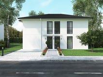 Modern huis in de stad het 3d teruggeven Royalty-vrije Stock Afbeeldingen