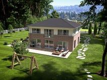 Modern huis in de stad het 3d teruggeven Stock Afbeelding