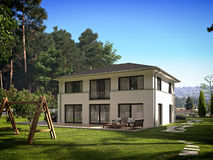 Modern huis in de stad het 3d teruggeven Royalty-vrije Stock Afbeelding