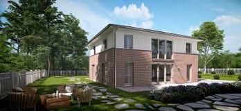 Modern huis in de stad het 3d teruggeven Stock Afbeeldingen