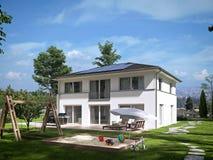 Modern huis in de stad het 3d teruggeven Stock Fotografie
