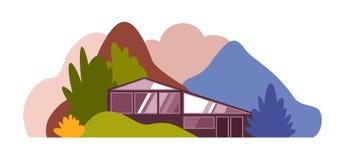 Modern huis in het bos onder de heuvels, de bergen en de bossen vector illustratie