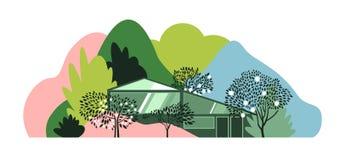 Modern huis in het bos onder de heuvels, de bergen en de bossen royalty-vrije illustratie