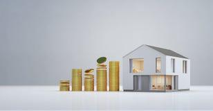 Modern huis met gouden muntstukken in bezitsinvestering en bedrijfs de groeiconcept, die nieuw huis kopen voor grote familie Royalty-vrije Stock Afbeelding