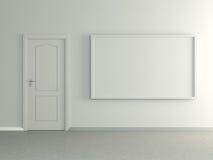 Modern huisbinnenland met beeld en deur. 3D. Stock Foto