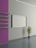 Modern huisbinnenland met pot installatie en het schilderen. 3D. Royalty-vrije Stock Foto's