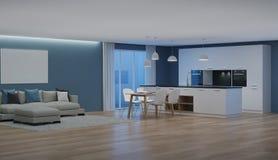 Modern huisbinnenland nacht Avondverlichting vector illustratie