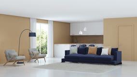 Modern huisbinnenland Warme kleur in het binnenland stock foto