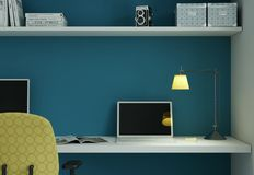 Modern huisbureau met gele stoel en het blauwe muur binnenlandse ontwerp 3d Teruggeven Stock Fotografie