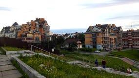 Modern huizen stedelijk landschap stock foto