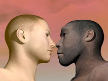 Modern human and homo erectus - 3D render. A portrait of modern human facing Homo Erectus man in colorful background Royalty Free Stock Photo