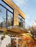 Modern husdesign med sid royaltyfria bilder