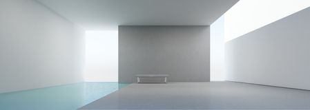 Modern husinre med simbassängen Arkivfoto