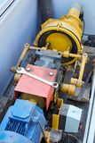 Modern hydraulic pump for pumping waste from sewerage in the cit. Y. The concept of ecology in an urban environment Stock Photography