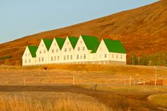 Modern Icelandic houses near Laugavartn stock photography