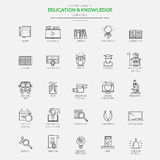 Modern icons for Education and Knowledge. Flat Line Modern icons for Education and Knowledge. Vector Royalty Free Stock Photo