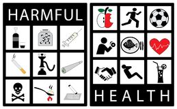 Set of icon displaying harmful versus healthy habits. Modern icons for healthy life concept. Vector illustration Royalty Free Stock Photography