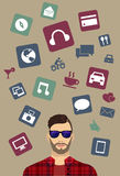 Modern icons, man background. Vector with different icons Royalty Free Stock Images