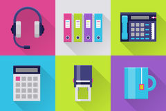 Modern icons set for office. Office flat icons. Icons set for office or business: headset, calculator and stamp, folder, tea cup. Interface elements in flat Royalty Free Stock Image