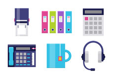 Modern icons set for office. Office flat icons. Icons set for office or business - headset, calculator and stamp, folder, tea cup. Interface vector elements on Stock Photos