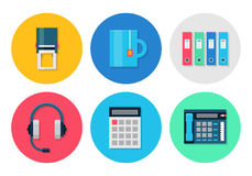 Modern icons set for office. Office flat icons. Icons set for office or business - headset, calculator and stamp, folder, tea cup. Interface vector elements on Royalty Free Stock Photo