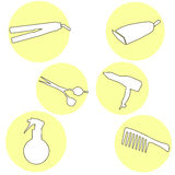 Modern icons set silhouettes of hairdressing tools. Symbol collection of hairdressing tools isolated on white background. Modern f Royalty Free Stock Image
