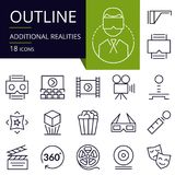 Set of outline icons of Additional realities. Modern icons for website, mobile, app design and print Stock Image