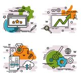 Set of outline icons of SEO. vector illustration