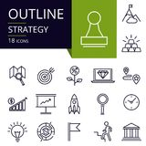 Set of outline icons of Strategy. Modern icons for website, mobile, app design and print Stock Photography