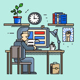Modern idérik arbetare för kontorsskrivbord i linjen lägenhet royaltyfri illustrationer