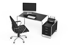 Modern idérik workspace Datoren är på kontorstabellen med Blac Royaltyfria Bilder