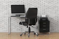 Modern idérik workspace Datoren är på kontorstabellen med Blac Royaltyfri Foto
