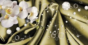 3d wallpaper with orchids,bubble and rhinestones on dark green silk background. Modern ideas in the design of any interior. 3d wallpaper with orchids, bubble and royalty free stock photos