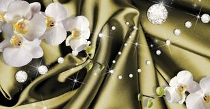3d wallpaper with orchids and rhinestones on dark green silk background. Modern ideas in the design of any interior. 3d wallpaper with orchids and rhinestones on royalty free stock photo