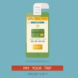 Modern illustration av begreppsprocessen som betalar taxitaxi VI Royaltyfri Illustrationer