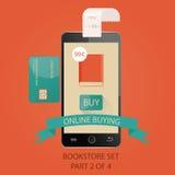 Modern illustration av betalningar vid kreditkorten Online-bu Royaltyfri Illustrationer