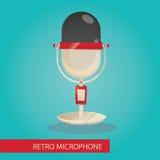 Modern illustration av mikrofonen Vektor Illustrationer