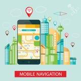 Modern illustration av mobil navigering Vektor Illustrationer