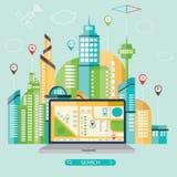 Modern illustration av mobil navigering med navigationa Royaltyfri Illustrationer