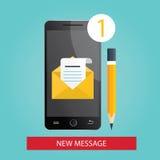 Modern illustration av mobiltelefonen med det nya meddelandet Vektor Illustrationer
