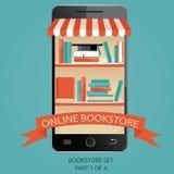 Modern illustration av online-bokhandeln E-böcker bild Royaltyfri Illustrationer